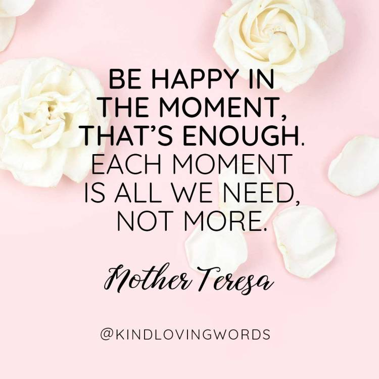 Be happy in this moment. That's enough. Each moment is all we need, not more. Mother Teresa