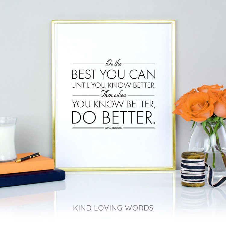 Do the best you can, until you can do better. Then when you can do better, DO BETTER. Maya Angelou
